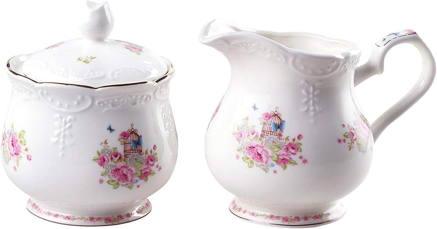 GenericBrands Porcelain Milk jug and Sugar Bowl Set for Coff