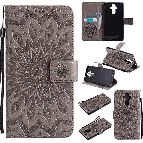Jeewi Hülle für Huawei Mate 9 Hülle Handyhülle [Standfunktion] [Kartenfach] [Magnetverschluss] Tasche Etui Schutzhülle lederhülle klapphülle für Huawei Mate9 - JEKT031039 Grau