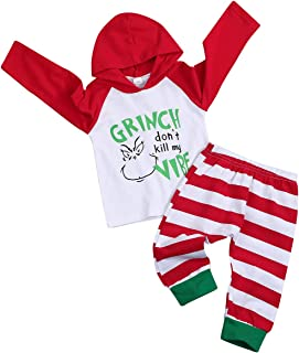Christmas Hoodie Toddler Baby Boys Girls Clothes Xmas Hoodie Stripe Long Pant Long Sleeve Costumes Outfit Set
