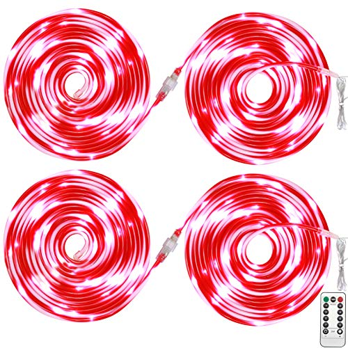 ZALALOVA Christmas Rope Lights, Total 65.6 Feet Candy Cane Rope Tube with 200 LEDs Fairy Lights 8 Lighting Modes Battery Powered String Lights Indoor Outdoor Christmas Party Decorations(4 Packs)