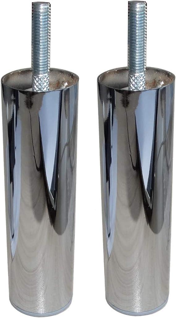 AERZETIX: 2x Patas de metal para muebles Ø42 H150mm con roscas en ambos lados (Cromo)