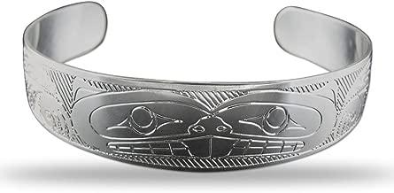 Sterling Silver Beaver Pacific Northwest Coast Native 1/2 Inch Wide Bracelet