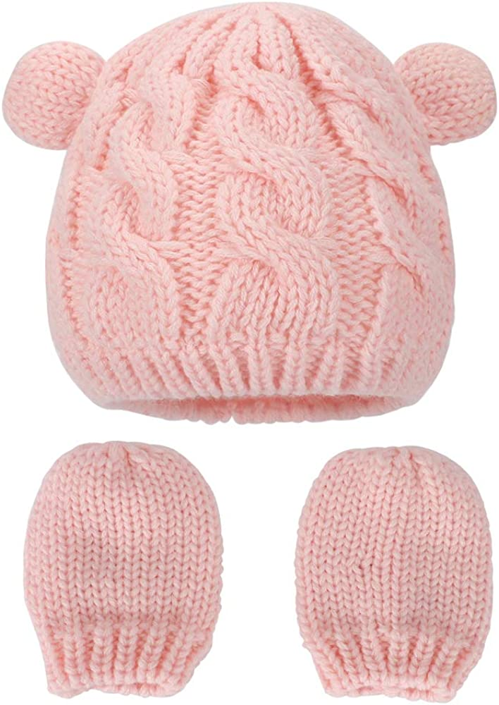 MK MATT KEELY Baby Winter Hat with Ears for Baby boy Baby Girl Hat and Mittens Set