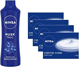 NIVEA Talc, Musk Mild Fragrance Powder, 400g And NIVEA Soap, Creme Care, For Hands And Body, 125g (4 Pieces)