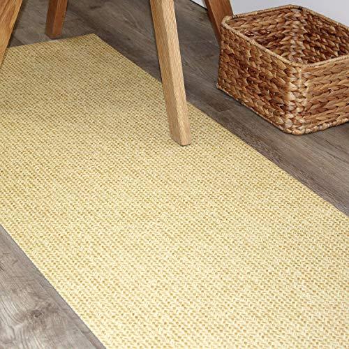 Comercial Candela Alfombra de Pasillo de Textil Resinado Antimanchas, Lavable | Base PVC Antideslizante y Aislante Diseño Trenzado Dorado (52_x_100 CM)