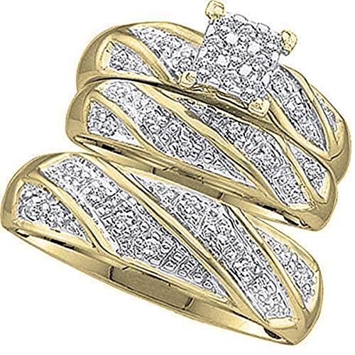 0,30quilates (de quilate) 10K oro amarillo Diamante redondo hombres y mujeres de Cluster anillo de compromiso Trio Set 1/3CT