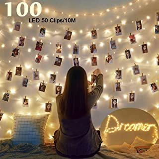 Clip Cadena de Luces LED USB,LECLSTAR 10m 100 LED Fotoclips Guirnalda de Luces con 50 Pinzas,ideal para Hogar, Pared, Navidad, Fiesta, Boda,Decoraciones de Dormitorio