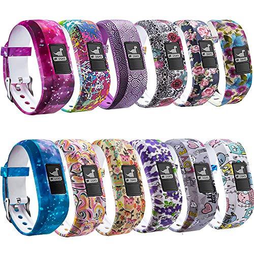 FITLI Compatible with Vivofit 3 Bands, Garmin Vivofit JR Bands, Vivofit JR 2 Bands, Replacement Bands Compatible with Kids Garmin Vivofit 3 JR 2 Band for Kids Women Men, 12 Pack