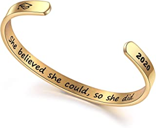 DESIMTION Inspirational Cuff Bangle Bracelets for Women You are Braver Than You Believe Stainless Steel Engraved Crown Jewelry