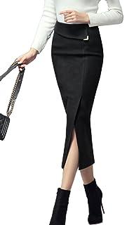 ELPIS レディース ウール ペンシル タイト スカート ロング スリット オフィス 2色