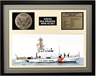 Navy Emporium USCGC Sea Dragon WPB-87367 Framed Coast Guard Ship Display Grey
