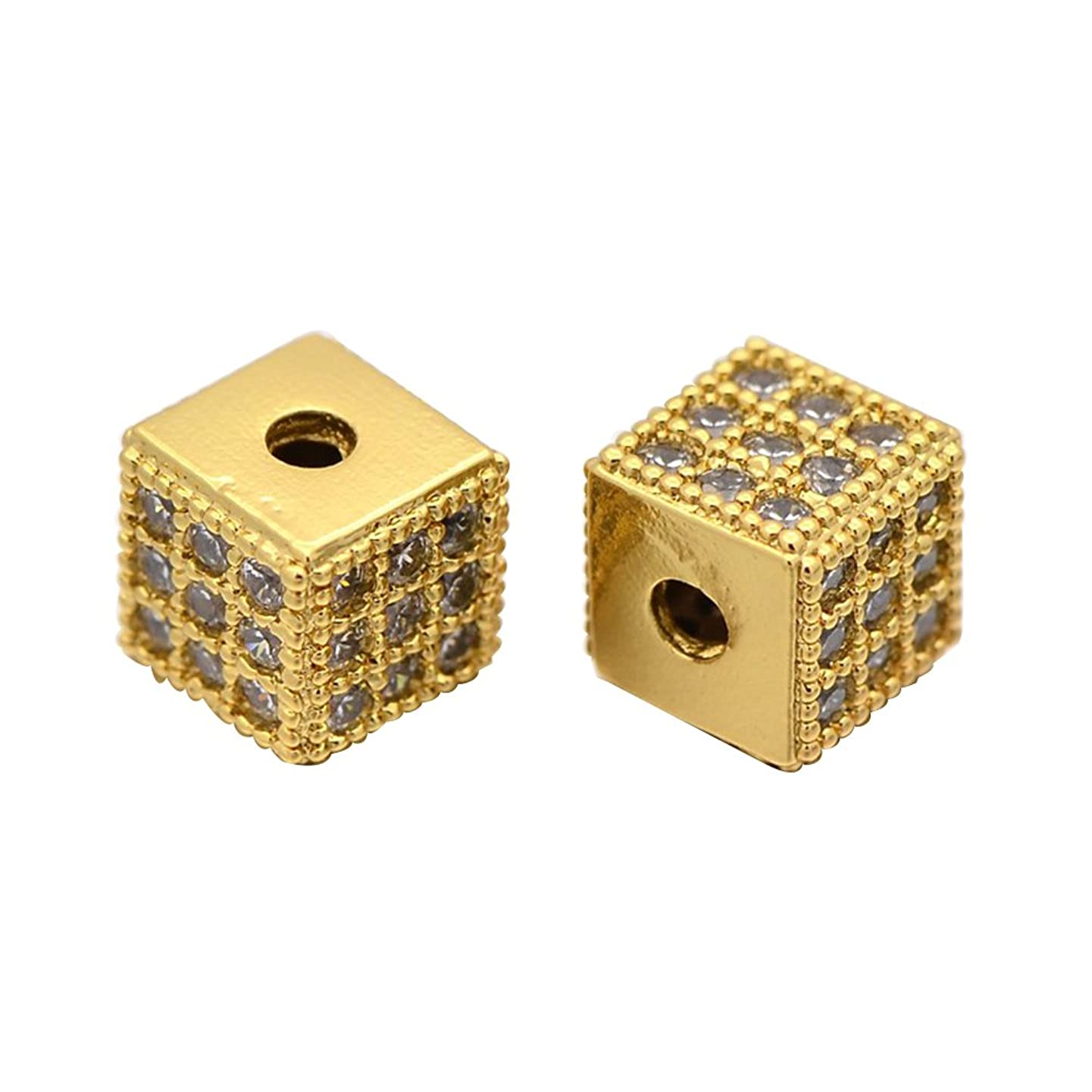 NBEADS 1PCS Clear Zircon Gemstones Brass Micro Pave Square Cube Gold Connector Charm Bead for Bracelet Necklace Earrings Jewelry Making Crafts Design, 6x6x6mm, Hole: 1.5mm