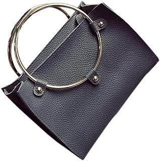 Docooler Women Metal Ring Handbag PU Leather Shoulder Tote Bag Ladies Messenger Crossbody Bag Black/Grey/Pink