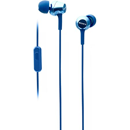 Sony MDR-EX255AP Wired in-Ear Headphones with Tangle Free Cable, 3.5mm Jack, Headset with Mic for Phone Calls and 1 Year Warranty - (Blue)