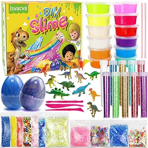 Fai da Te Fluffy Slime Kit Completocon 12 Colori di Slime di dinosauro, Melma di Uovo Galaxy Slime, Glitter e Altri Giocattoli per Bambini 5-12 Anni Regalo per Ragazze e Ragazzi