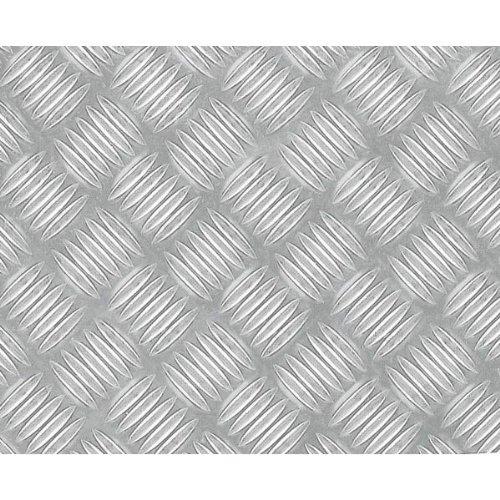 Klebefolie mit spürbar geprägter Riffel-Struktur I Selbstklebende 3D Metallic-Folie zum Verschönern von Möbel & Küche I Hoch-Glänzende Selbstklebefolie in silberner Riffelblech-Optik