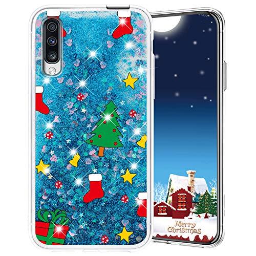 Misstars Weihnachten Handyhülle für Huawei Honor 9X / 9X Pro, 3D Kreativ Glitzer Flüssig Transparent Weich Silikon TPU Bumper mit Weihnachtsbaum Muster Design Anti-kratzt Schutzhülle