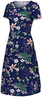 Women O-neck Short Sleeve Long Dress, Ladies Floral Printed Casual Party Dress