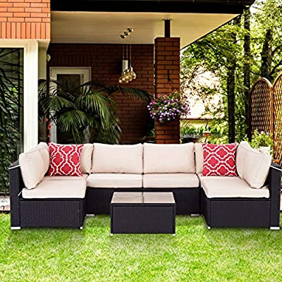 Aclumsy Patio 7 Piece Outdoor Patio Furniture Sets PE Rattan Conversation Sofa Set Sectional Wicker Chair with Cushions and Tea Table Black