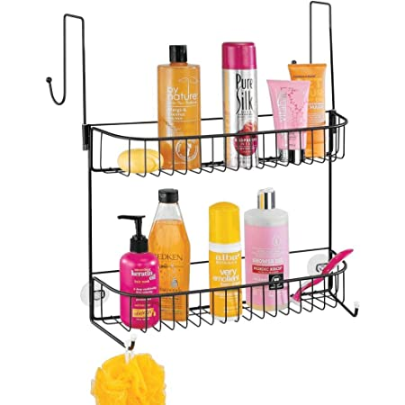 mDesign Extra Wide Metal Wire Over The Bathroom Shower Door Caddy, Hanging Storage Organizer with Built-in Hooks and Baskets on 2 Levels for Shampoo, Body Wash, Loofahs, Rust Resistant - Matte Black