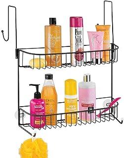 mDesign panier de douche à suspendre – rangement de douche pratique sans perçage – étagère de douche en métal à deux panie...