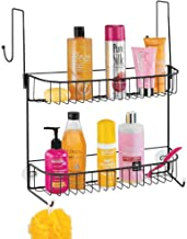 mDesign Extra Wide Metal Wire Over The Bathroom Shower Door Caddy, Hanging Storage Organizer with Built-in Hooks and Baske...