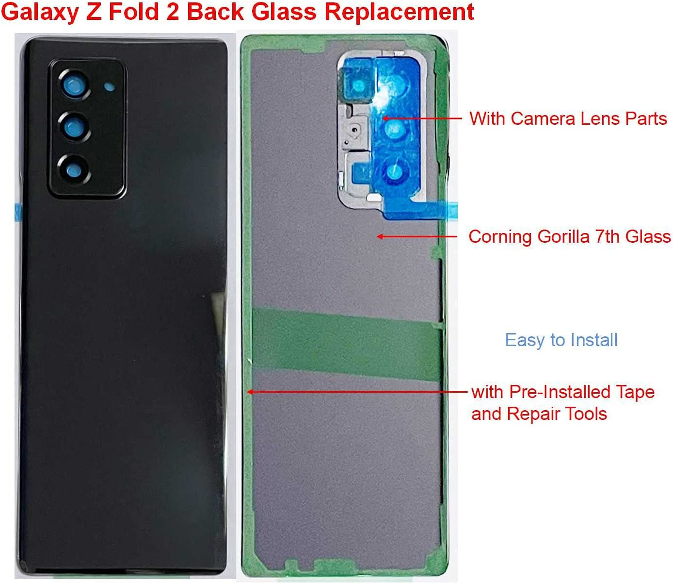 Z Fold 2 Back Glass Replacement W/Camera Lens and Pre-Installed Tape for Samsung Galaxy ZFold 2 SM-F916 5G Version Z Fold2 5G F916 Back Glass Housing Cover Part + Tools (Black)
