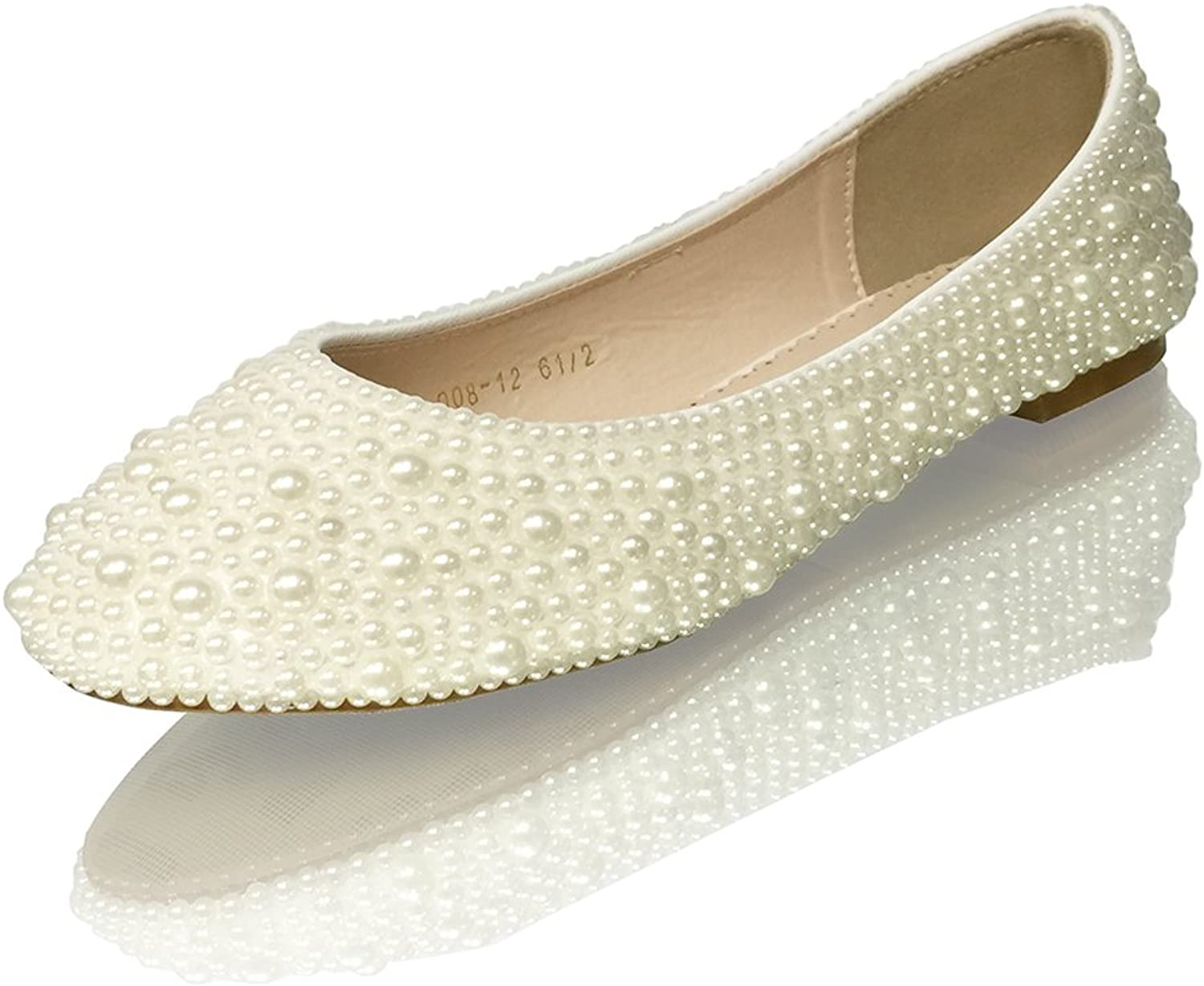 Marc Defang New York Women's Handmade Ivory Mixed Pearl Closed Toe Wedding Bridal Flats