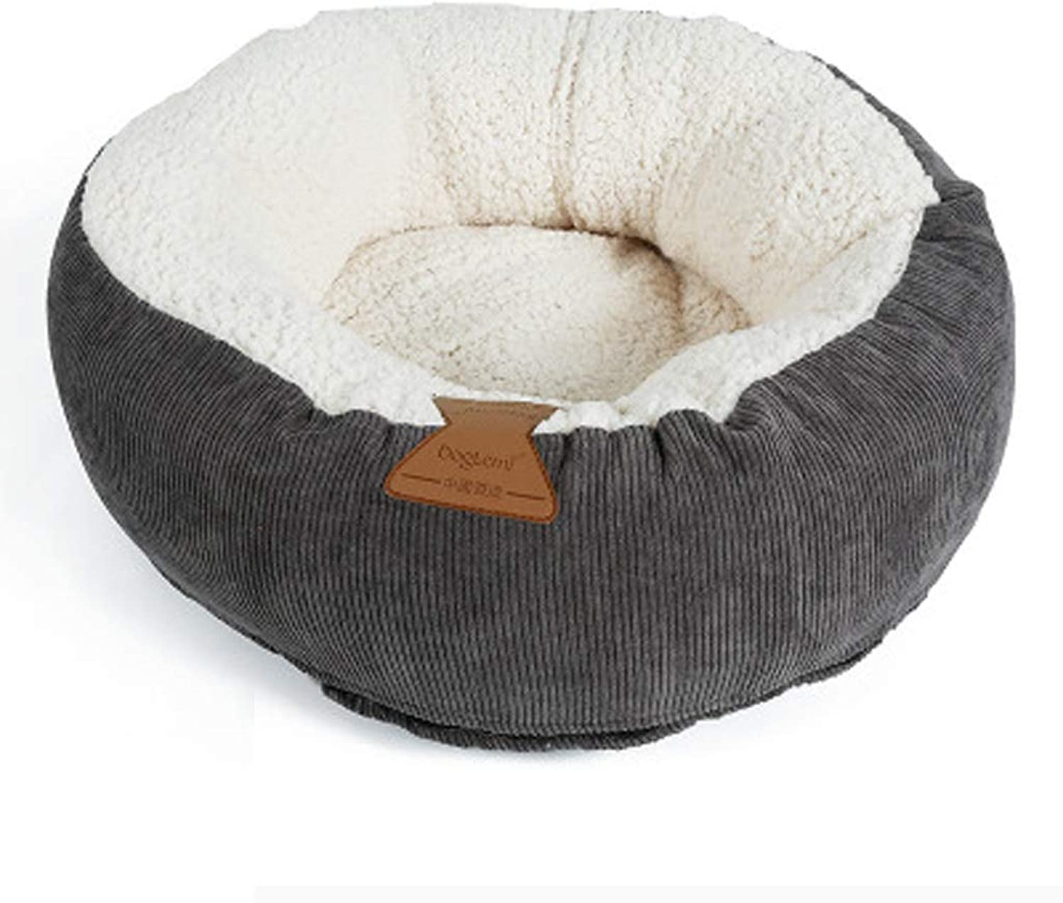YJLGRYF Cat Nest Detachable Pet Bed Thick Cotton Corduroy Round Warm Cat House Cat Bed Cat Nest(18.5x18.5x6.6 Inch) Dog Bed