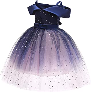 Toddler Rainbow Wedding Party Kids Dresses for Girls Open back Sparkly Princess Gown 2-9Years