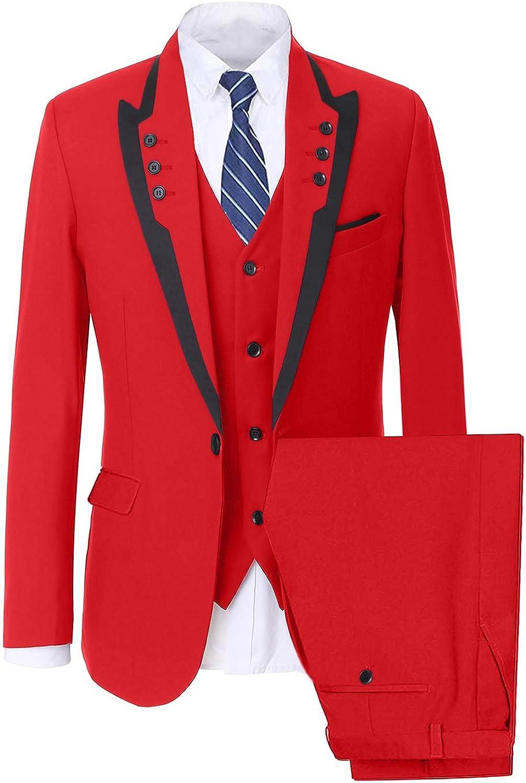Wemaliyzd Men's Peak Lapel 3 Piece Business Suit Single Breasted Vest Pants