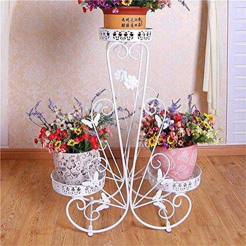 Élégance blanche fer fleur stand supports/Stand 3 étage étage style créatif pots de fleurs décoratif présentoir salon balcon intérieur et extérieur