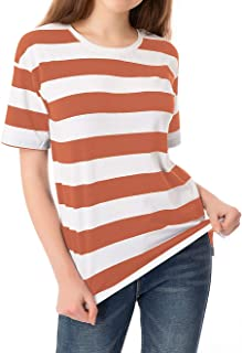 Striped T Shirt for Women Short Sleeve Crew Neck Summer Loose Casual Tee Tops