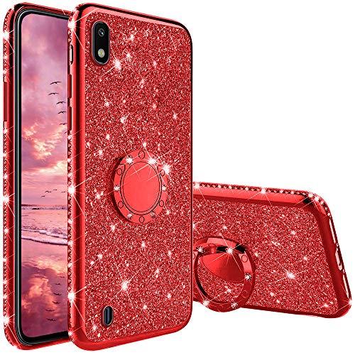 Compatibile con Cover Samsung Galaxy A10, Glitter Lusso Strass Diamante Bling Diamanti Custodia con 360 Gradi Rotante Supporto Ring Kickstand Protezione Morbido Silicone TPU - Rosso