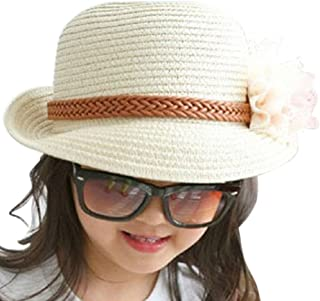 ARAUS キッズ 帽子 日よけ帽 サマーハット サンハット 紫外線対策 花付き ストロー 太陽 キッズ ベビー 女の子 男の子 誕生日 旅行 散歩 お遊び プレゼント ギフト 夏(2-10歳用) (2-10歳, ミルクホワイト)