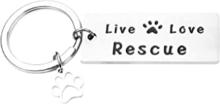 RUNXINTD Live Love Rescue Keychain Rescue Gift Paw Print Bracelet Animal Rescue Pet Lover Adoption Jewelry