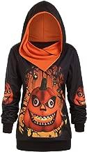 TIANTI Womens Halloween Hoodie Plus Size 3D Pumpkin Print Comfortable Sweater Long Sleeve Lightweight Hooded Sweatshirts