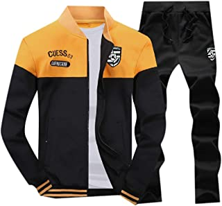 XINHEO Men Running Zip Up Fit 2 Piece Set Sport Casual Tracksuit Set