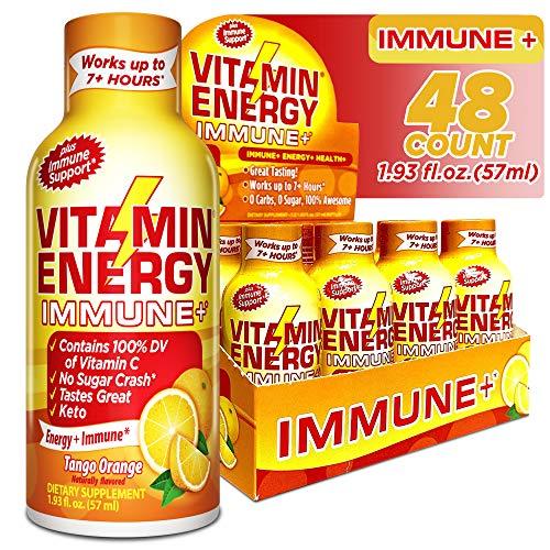 (48 Pack) VitaminEnergy™ Immune Shot, Zero Sugar Energy Shot, Dietary Supplements, Keto Friendly Energy, 0 Carbs Drink, Vitamin C, Up to 7+ Hours of Energy, Tango Orange, 1.93 Fl. Oz.