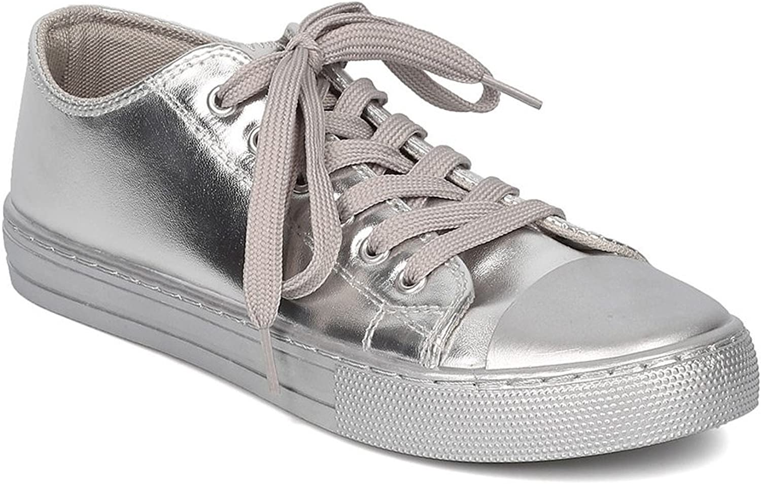 Qupid Women Metallic Leatherette Capped Toe Lace Up Low Top Sneaker GF23