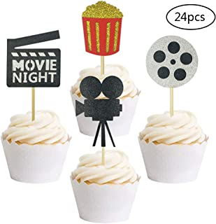 24 PCS Movie Night Cupcake Toppers Dessert Cupcake Toppers Hollywood Party Clear Treat Picks