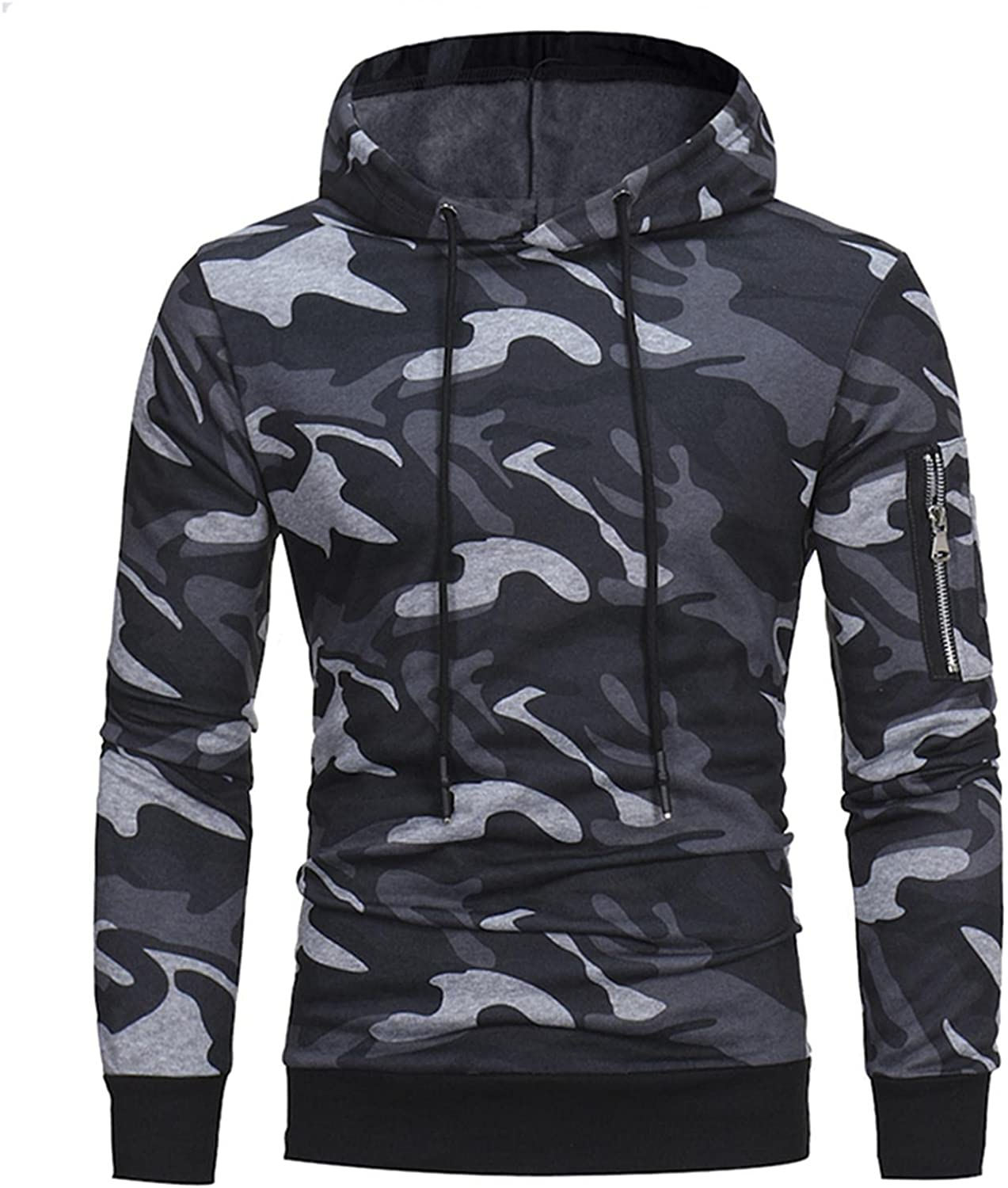 Qsctys Mens Hoodie Pullover Camouflage Slim Fit Long Sleeve Ribbed Sweatshirts Hooded Lightweight Fashion Hoodies Outwear
