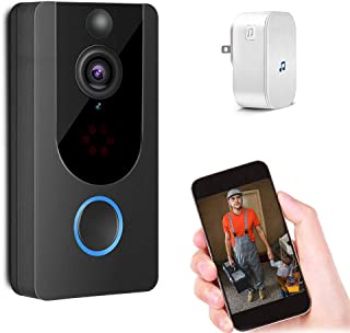 Smart Video Door Bell Wireless 1080P Doorbell Camera Free Cloud Storage Lifetime 166° Wide Angle WiFi Security Camera with Two-Way Talk PIR Motion Detection Night Vision and Real-time Video