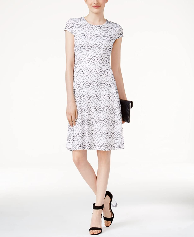 Alfani Womens Lace ALine Fit & Flare Dress