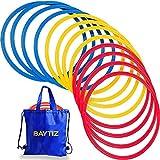 BAYTIZ- 13 Cerchi per Attività Sportiva + Borsa per il Trasporto - Attrezzatura in Plastica per Corsi e Giochi - Ginnastica Calcio Psicomotorio Allenamento Bambini Colorati Ritmica Psicomotricita Hoop