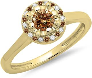 Dazzlingrock Collection 0.50 Carat (ctw) 14K Gold Round Champagne & White Diamond Bridal Halo Style Engagement Ring 1/2 CT