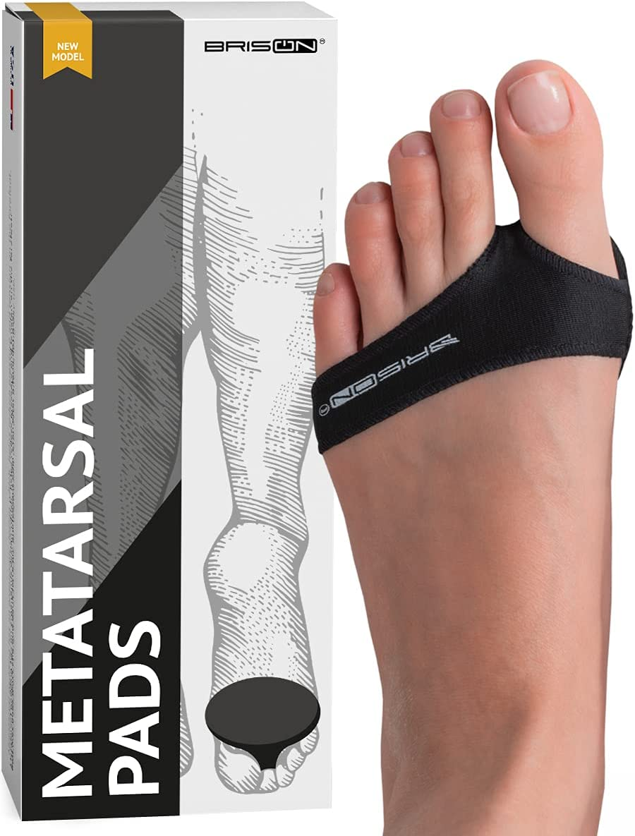 Fabric Metatarsal Pads - Ball of Foot Cushion Sleeves Burning Sensations Forefoot Blisters Metatarsalgia Pain Relief Foot Health Care Tight Fitting Feet - Gel Pads for Men Women - Black