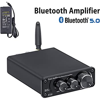 [2020 Upgraded] Bluetooth 5.0 Stereo Audio Amplifier Receiver 2 Channel Class D Mini Hi-Fi Integrated Amp for Home Speakers 50W x 2 TPA3116 - Fosi Audio BT10A