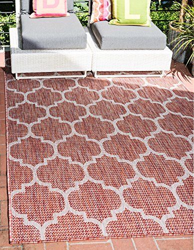 Unique Loom Outdoor Trellis Collection Casual Moroccan Lattice Transitional Indoor and Outdoor Flatweave Rust Red Area Rug (5' 0 x 8' 0)