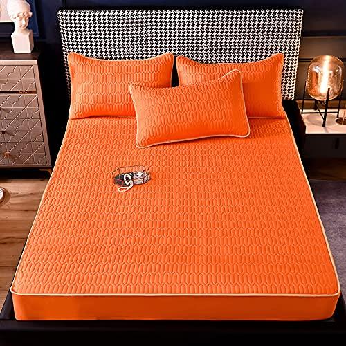 HAIBA Juego de cama doble con bolsillo extra profundo y protector de colchón de polialgodón para cama doble, 48 x 74 cm, 2 unidades